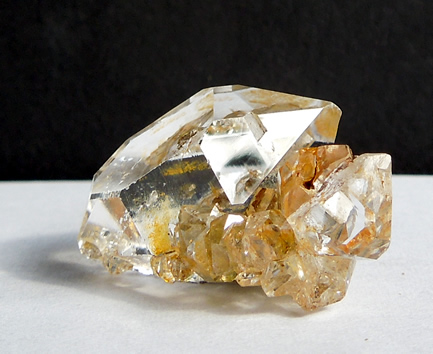 Largest quartz crystal has good clarity, shown here.
