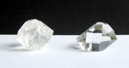 Picture shows double terminated quartz crystals
