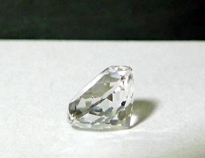 Side view, 7 mm round cut Herkimer