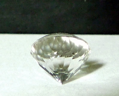 Back view of cut crystal gemstone.