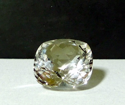 Front view of 10 mm square cut Herkimer Diamond