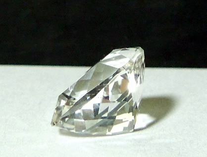 Square cushion cut 5 ct. diamond side view.