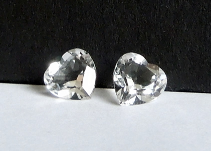 Set of heart shaped Herkimer Diamonds.