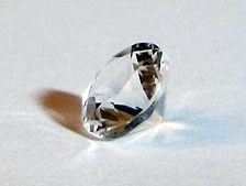 Machine faceted quartz crystal.