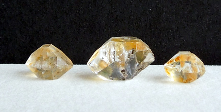 Three natural Herkimer Diamonds.