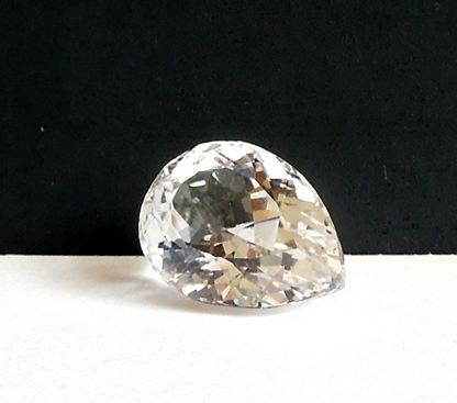 Tear drop faceted Herkimer crystal.