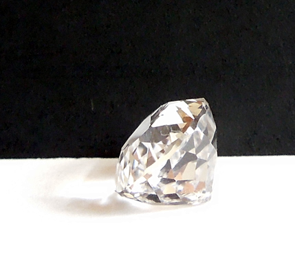 Side view of large pear cut Herkimer